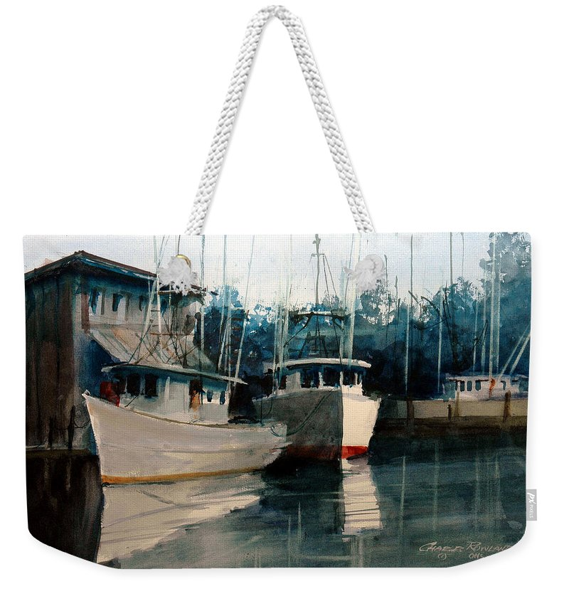 Apalachicola Weekender Tote Bag featuring the painting Apalachicola Docks by Charles Rowland
