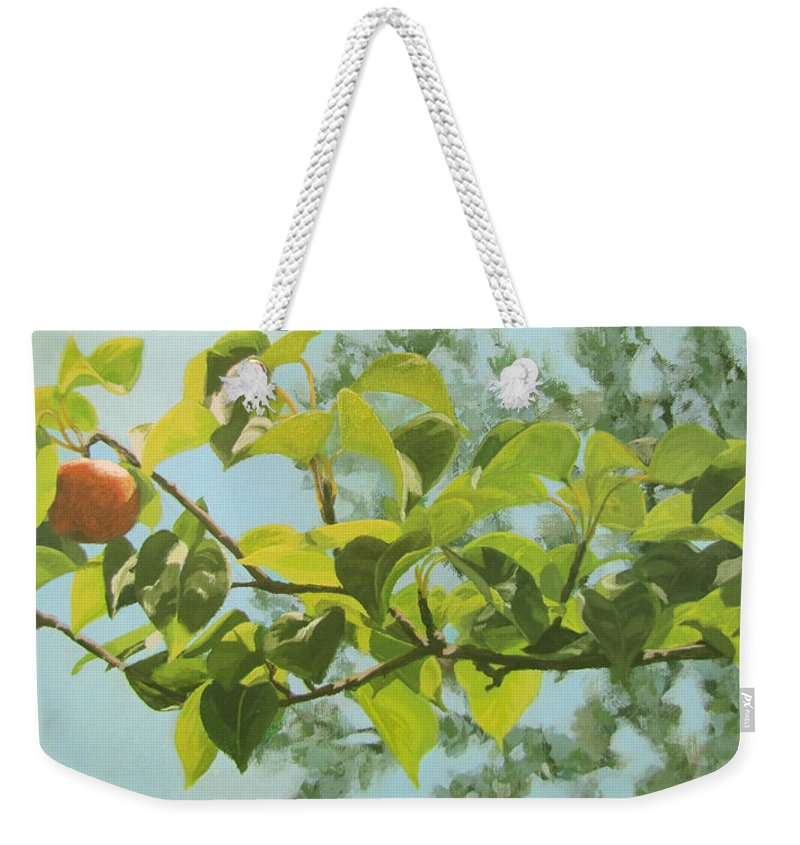 Trees Weekender Tote Bag featuring the painting Apple A Day by Karen Ilari