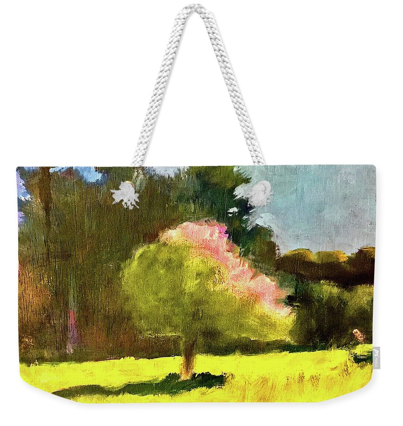 Dramatic Weekender Tote Bag featuring the painting Apple Blossoms by James Murphy