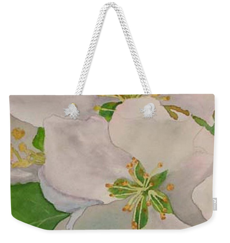 Apple Blossoms Weekender Tote Bag featuring the painting Apple Blossoms by Sharon E Allen