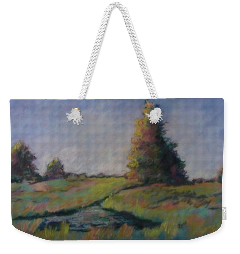 Landscape Weekender Tote Bag featuring the pastel Apple Pond by Pat Snook