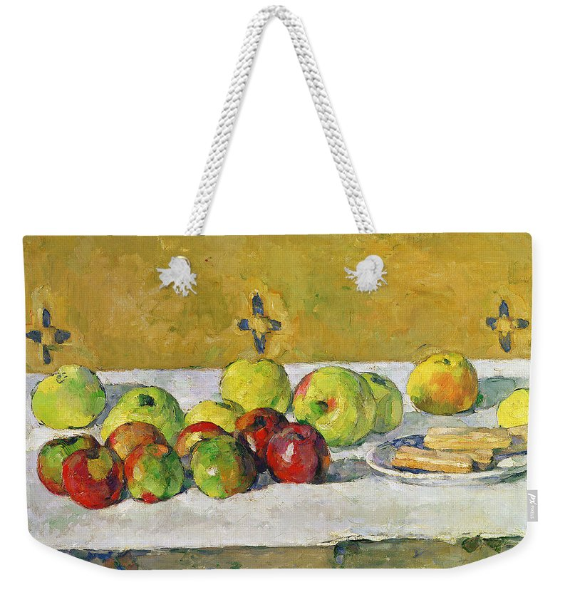 Apples Weekender Tote Bag featuring the painting Apples And Biscuits by Paul Cezanne