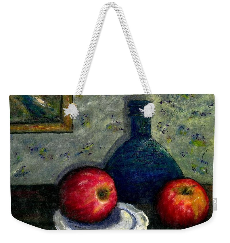 Still Life Weekender Tote Bag featuring the painting Apples And Bottles by Gail Kirtz