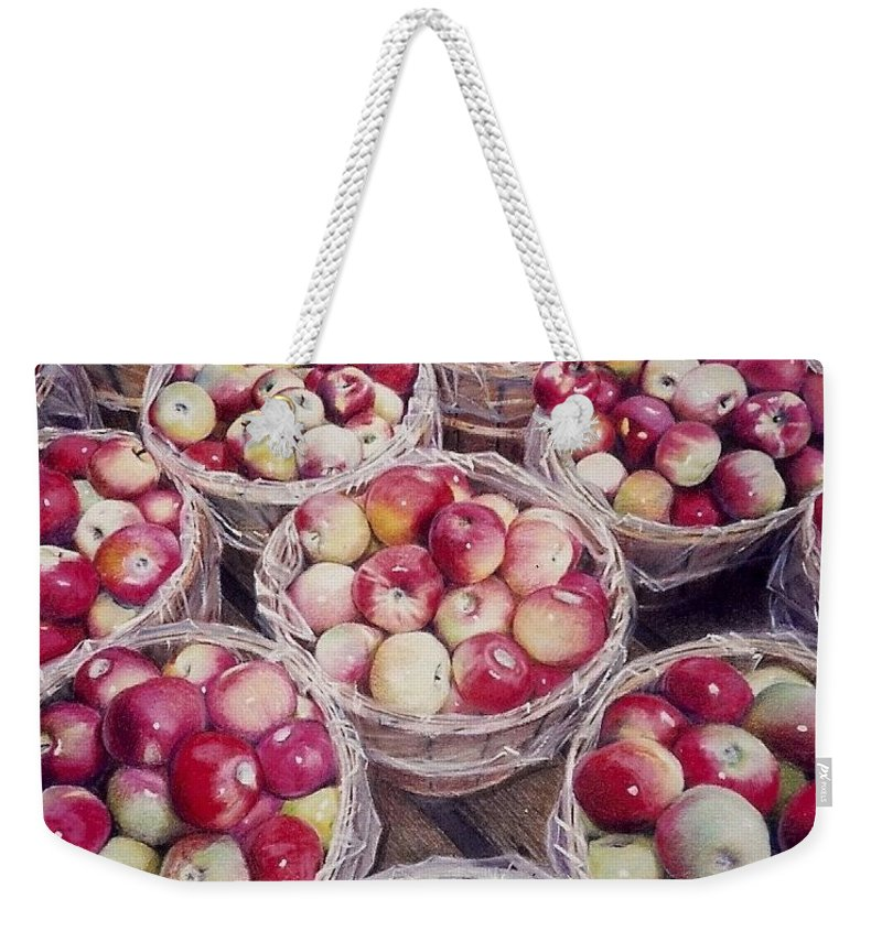 Red Weekender Tote Bag featuring the painting Apples by Constance Drescher