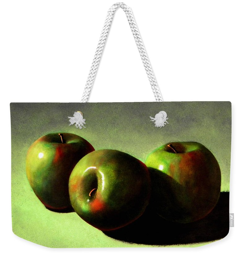 Still Life Weekender Tote Bag featuring the painting Apples by Frank Wilson