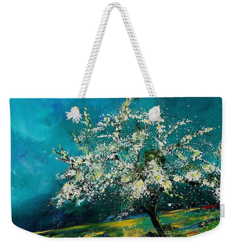 Spring Weekender Tote Bag featuring the painting Appletree In Spring by Pol Ledent