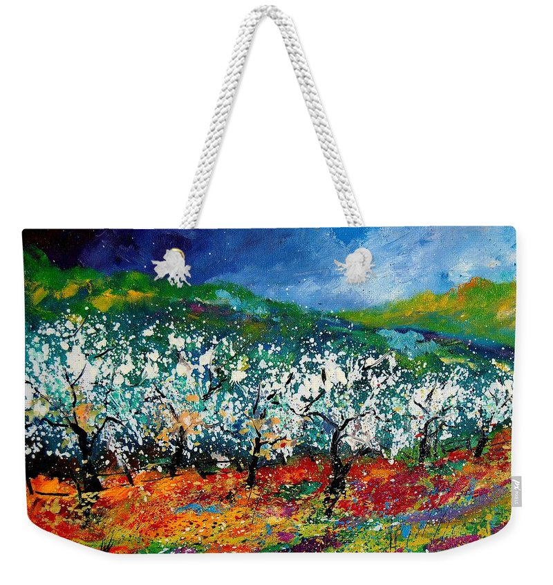 Spring Weekender Tote Bag featuring the painting Appletrees 4509070 by Pol Ledent