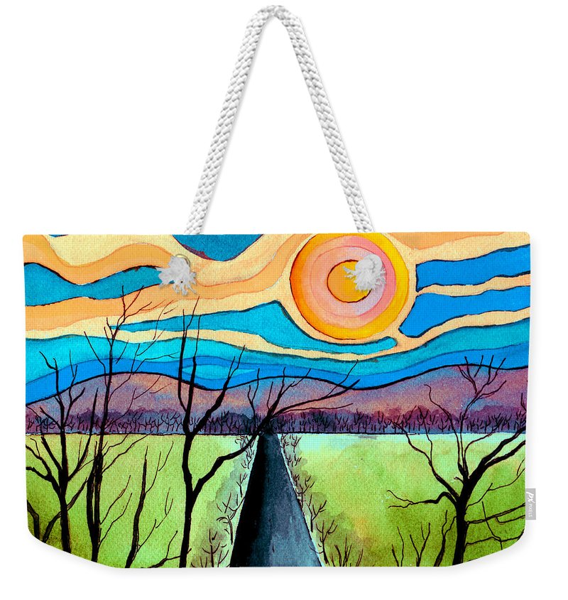 Landscape Weekender Tote Bag featuring the painting Approaching Lossarnach by Brenda Owen