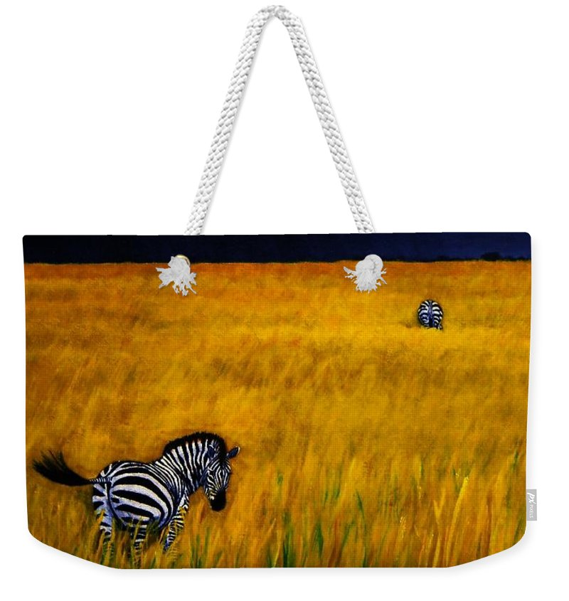 African Landscape Zebra Storm Clouds Edith Peterson Watson Scenery Nature Animals Wildlife Weekender Tote Bag featuring the painting Approaching Storm by Edith Peterson