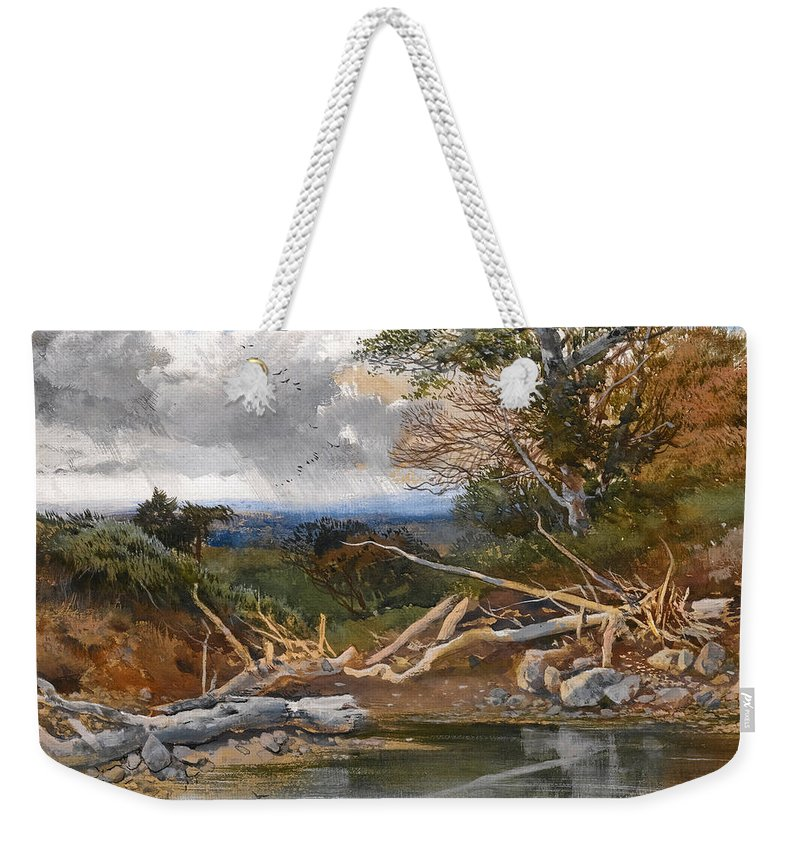 Henry Bright Weekender Tote Bag featuring the drawing Approaching Storm In A Wooded Landscape by Henry Bright