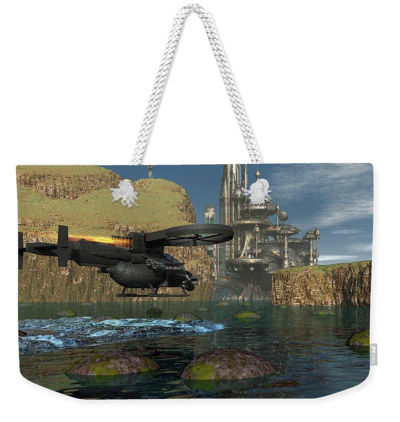 Digital Art Weekender Tote Bag featuring the digital art Approaching The Landing Pad by Michael Wimer