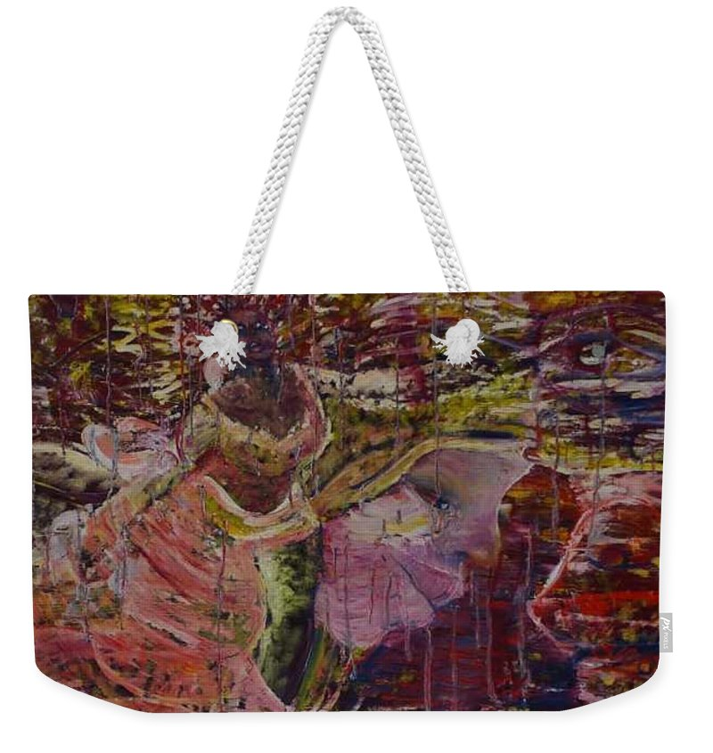 Portrait Weekender Tote Bag featuring the painting April 29th. by Peggy Blood