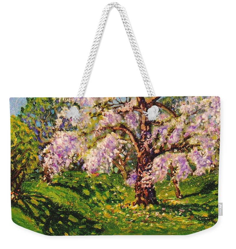 Scenic Weekender Tote Bag featuring the painting April Dream by Jonathan Carter