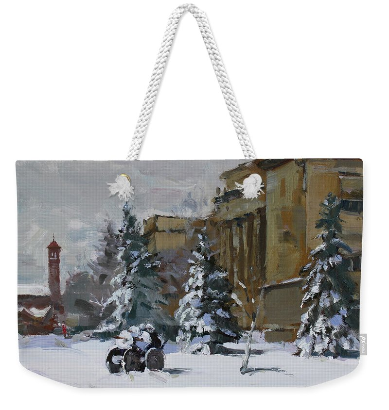 April Snow Weekender Tote Bag featuring the painting April Snow By The Nacc by Ylli Haruni