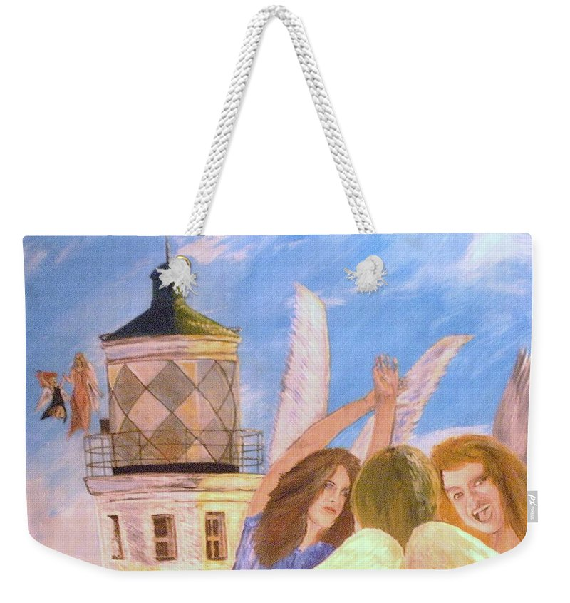 Look April Weekender Tote Bag featuring the painting Aprils Flying by J Bauer