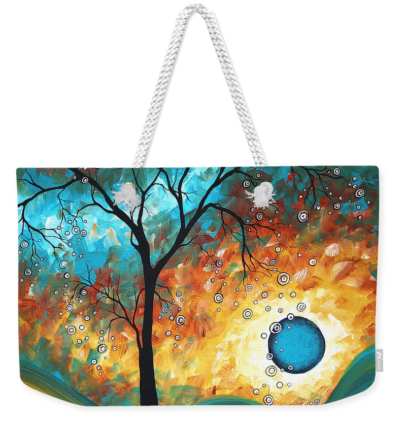 Art Weekender Tote Bag featuring the painting Aqua Burn by MADART by Megan Duncanson