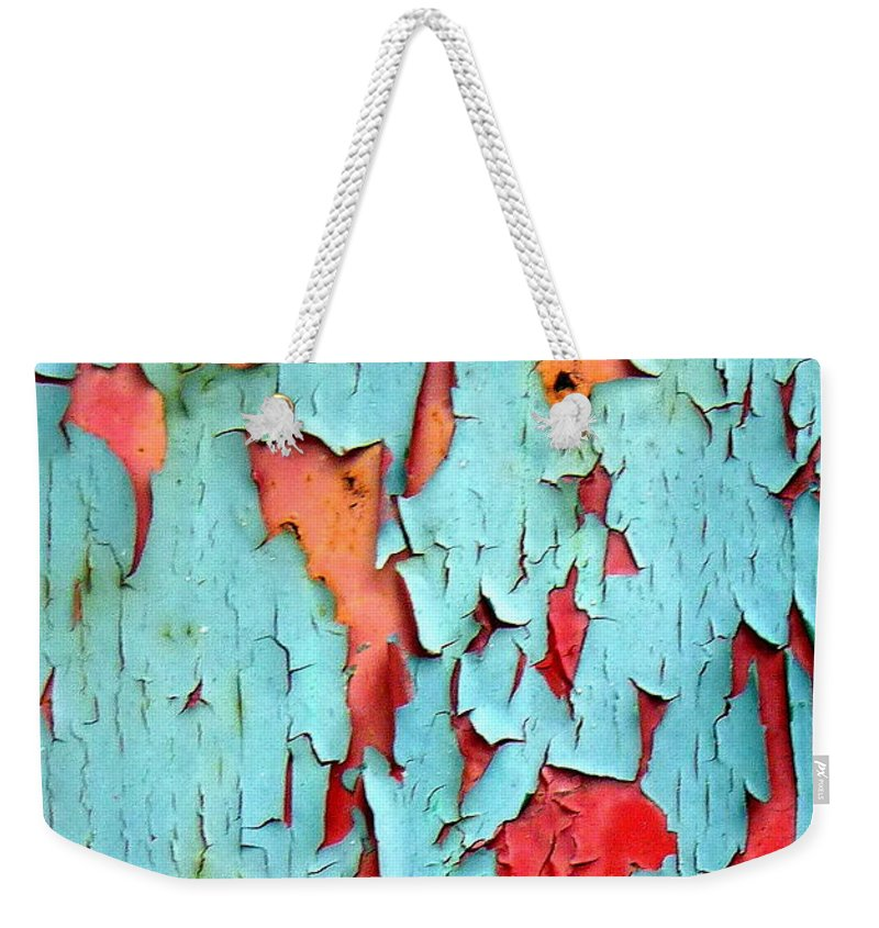 Paint Weekender Tote Bag featuring the photograph Aqua Over Orange by Carla Parris