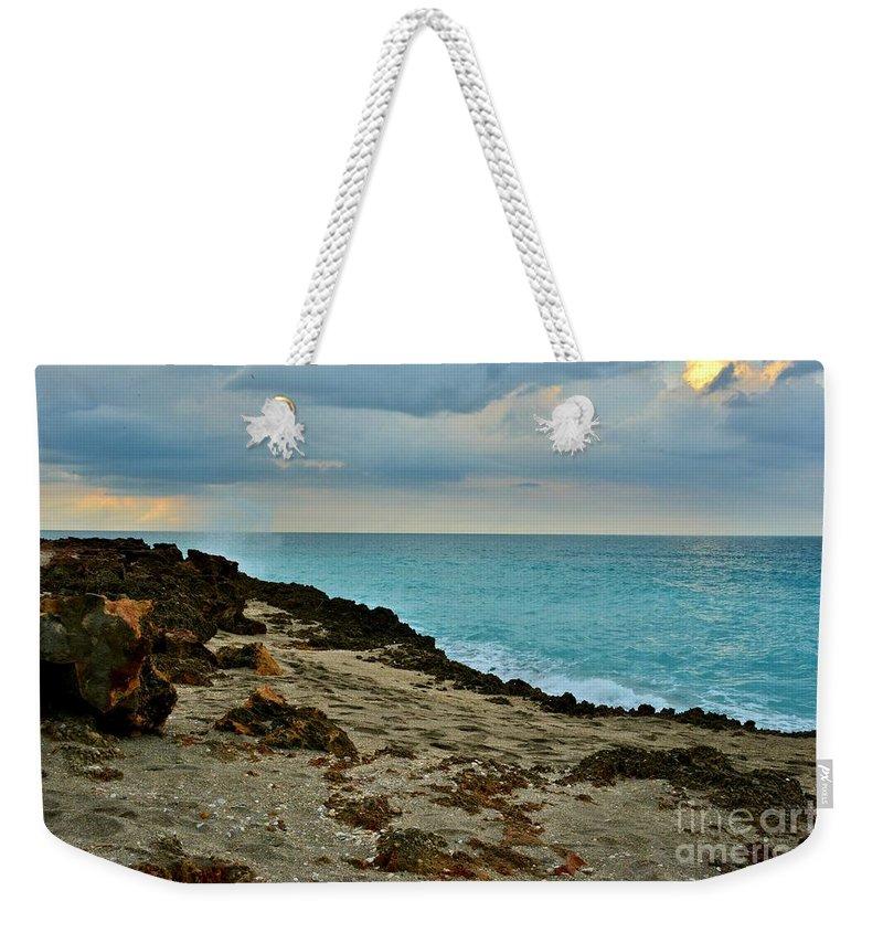 Aqua Surf Weekender Tote Bag featuring the photograph Aqua Surf by Lisa Renee Ludlum