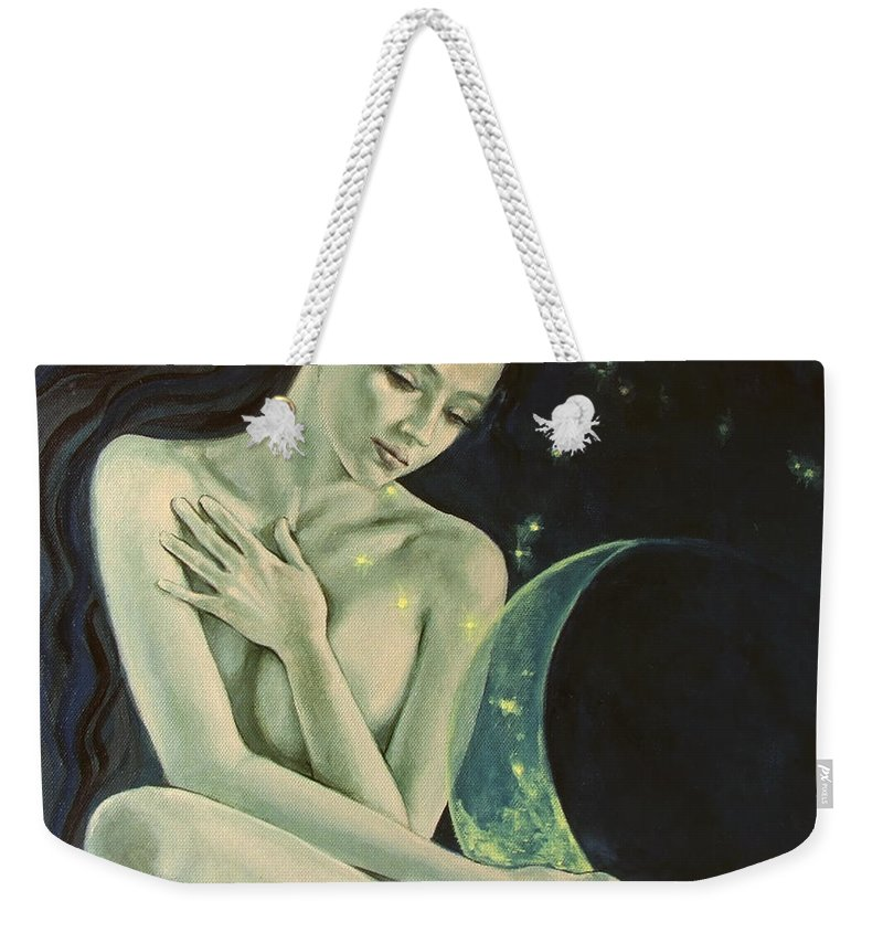 Art Weekender Tote Bag featuring the painting Aquarius From Zodiac Signs Series by Dorina Costras