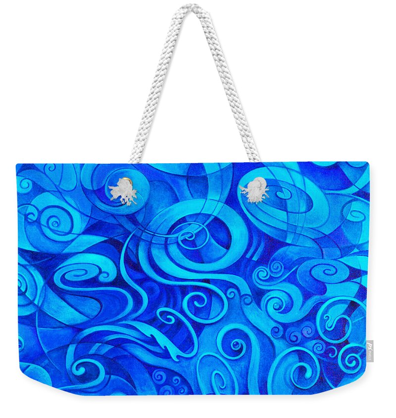 Aqua Weekender Tote Bag featuring the painting Aquea by Laura Zollar