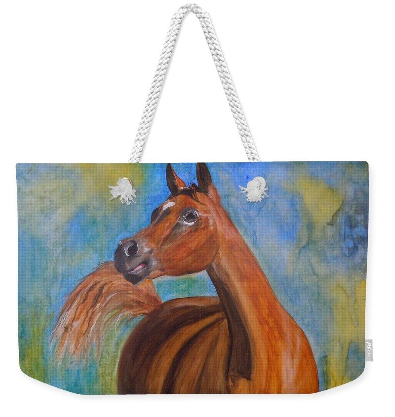 Horse Weekender Tote Bag featuring the painting Arabian Beauty by Jean Blackmer