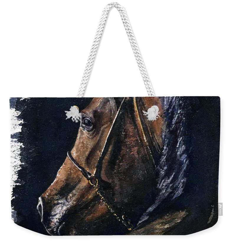 Horse Weekender Tote Bag featuring the painting Arabian by John D Benson