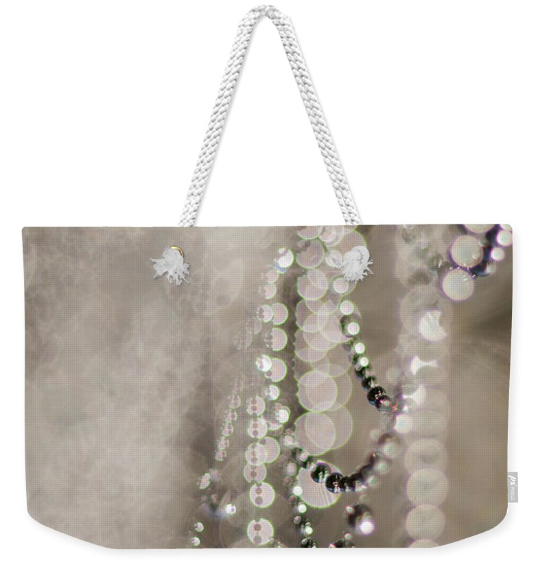 Abstract Weekender Tote Bag featuring the photograph Arachne's Beads by Robert Potts