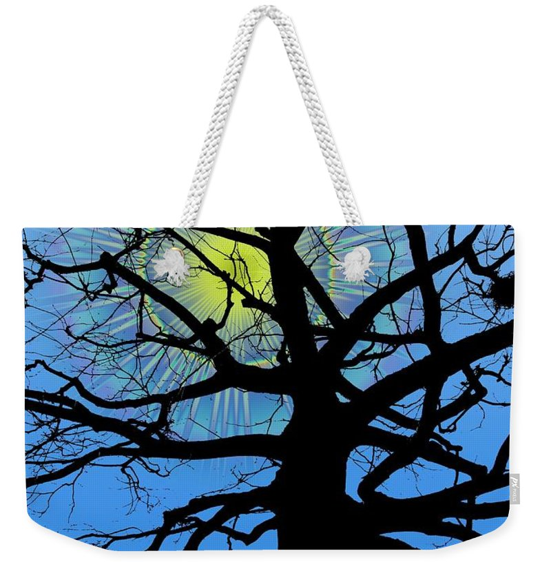 Tree Weekender Tote Bag featuring the digital art Arboreal Sun by Tim Allen