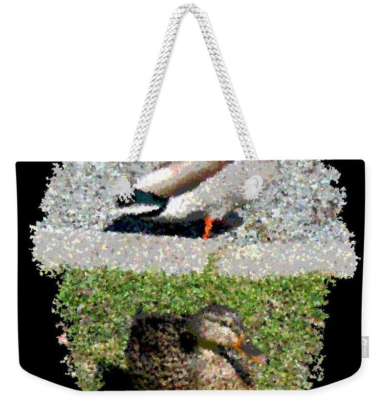 Arboretum Weekender Tote Bag featuring the digital art Arboretum Quackers by Tim Allen