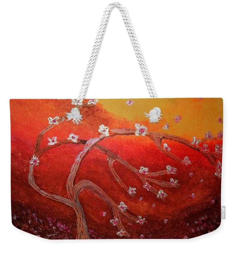 Tree Weekender Tote Bag featuring the painting Arbres En Fleur by Valerie Dauce