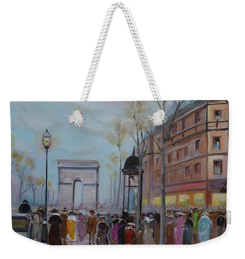 Paris Weekender Tote Bag featuring the painting Arc De Triompfe - Lmj by Ruth Kamenev