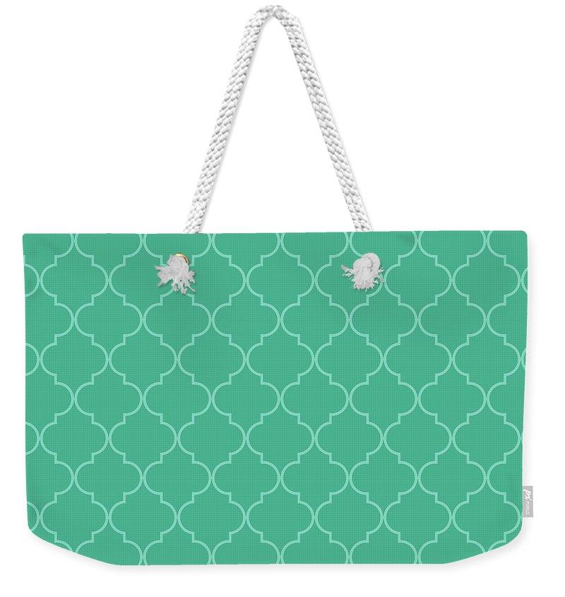 Quatrefoil Weekender Tote Bag featuring the digital art Arcadia Quatrefoil by Ashley Wann