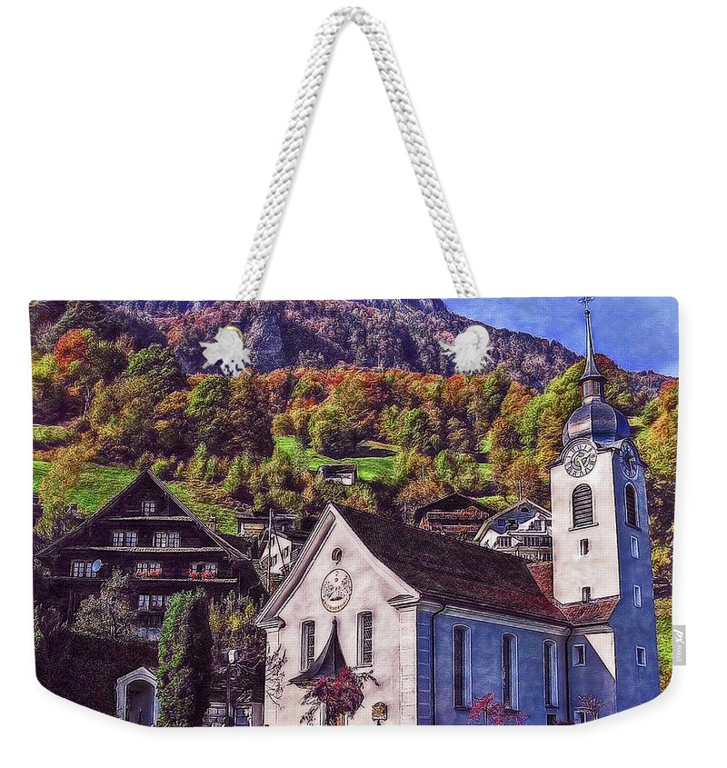Switzerland Weekender Tote Bag featuring the photograph Arcadian Hamlet by Hanny Heim