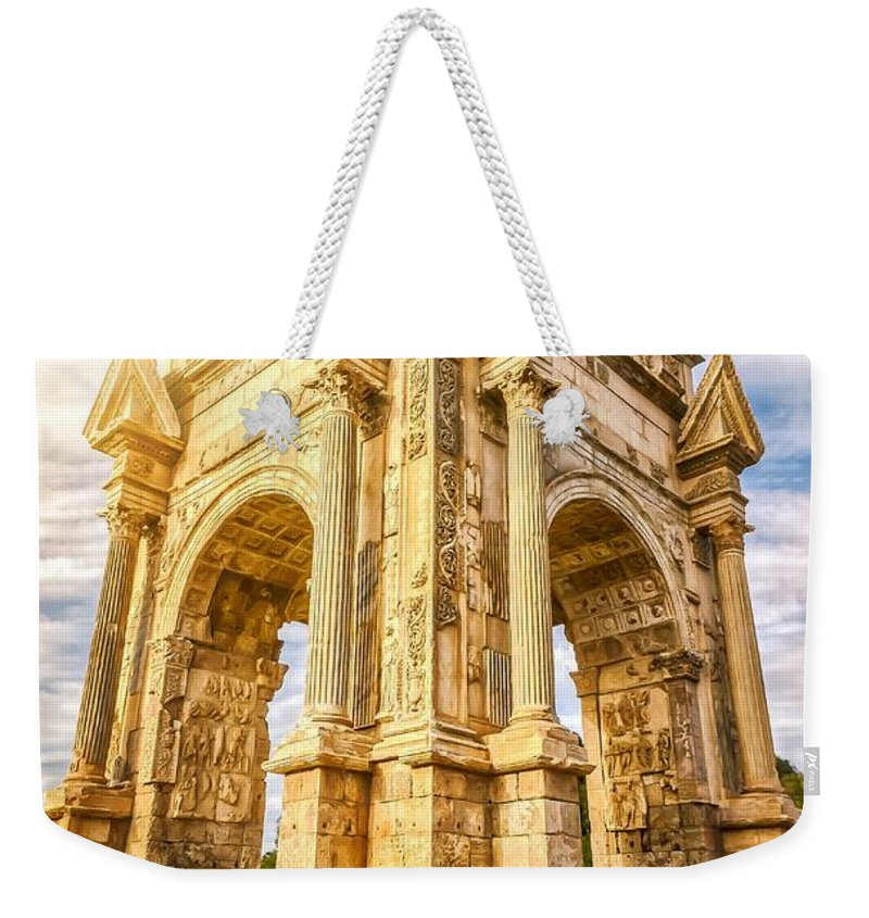 Hdr Weekender Tote Bag featuring the photograph Arch Of Septimius Severus by Ahmed Shanab