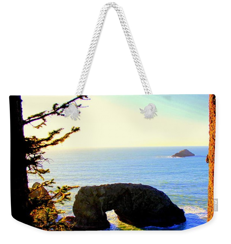 Arch Rock Weekender Tote Bag featuring the photograph Arch Rock Reflection by Michele Hancock