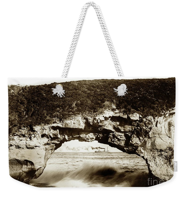 Arch Rock Weekender Tote Bag featuring the photograph Arch Rock, Santa Cruz, California Circa 1900 by California Views Archives Mr Pat Hathaway Archives