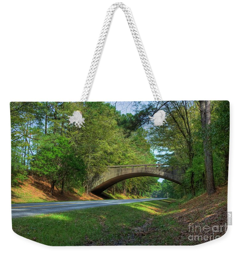 2009 Weekender Tote Bag featuring the photograph Arched Bridge Overpass by Larry Braun