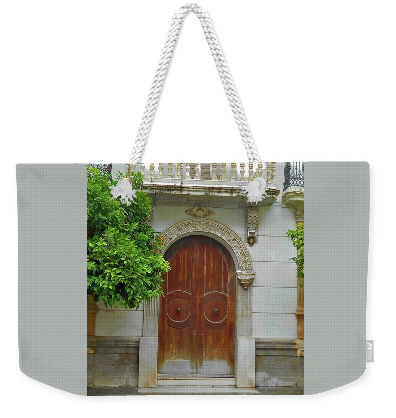 Landscape Weekender Tote Bag featuring the photograph Arched Door Cadiz by Mark Victors