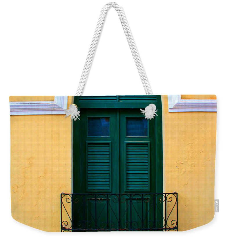 Door Weekender Tote Bag featuring the photograph Arched Doorway by Perry Webster