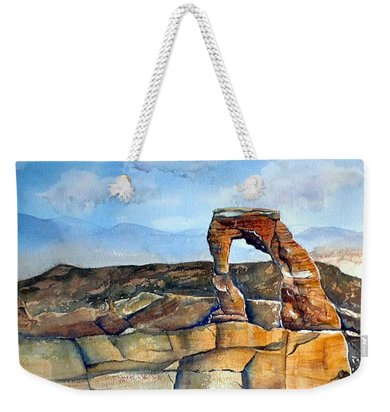 Arches National Park Weekender Tote Bag featuring the painting Arches National Park by Debbie Lewis