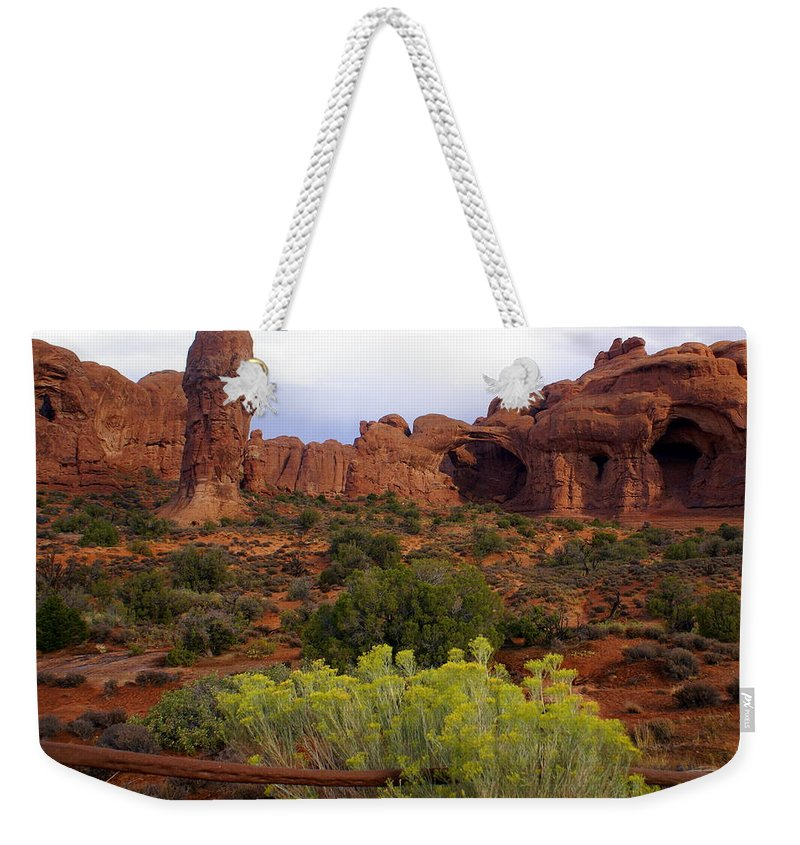 Southwest Art Weekender Tote Bag featuring the photograph Arches Park 1 by Marty Koch