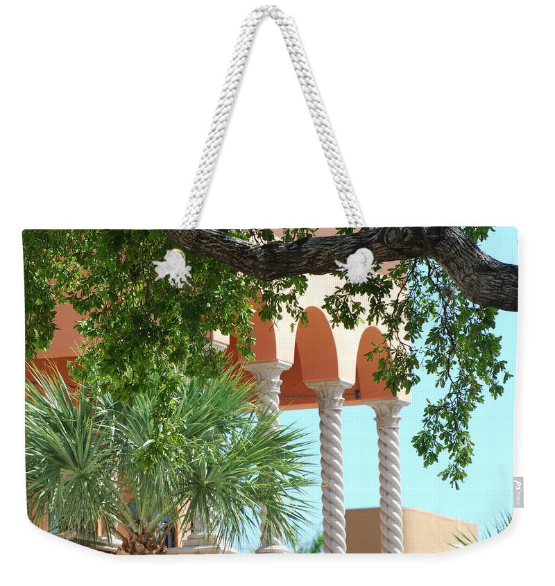 Architecture Weekender Tote Bag featuring the photograph Arches Thru The Trees by Rob Hans