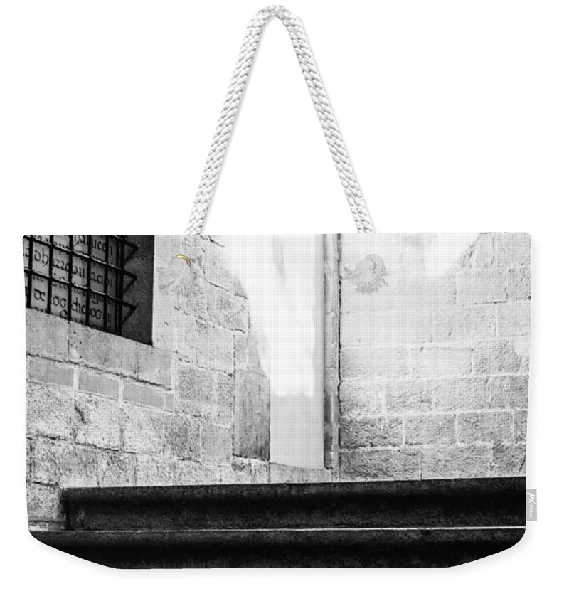 Black And White Weekender Tote Bag featuring the photograph Architectural Stone Stairs by Pati Photography