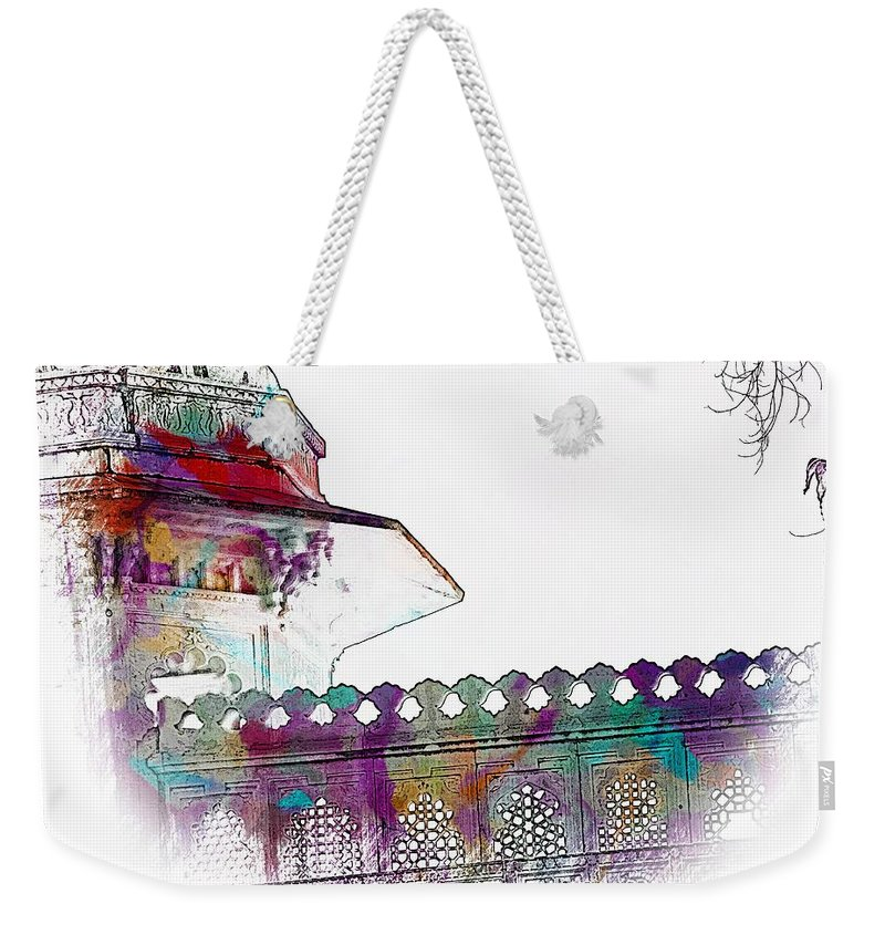 5034d82f22c6 Architecture Detail Weekender Tote Bag featuring the photograph  Architecture Detail Watercolor Sketch City Palace Udaipur Rajasthan