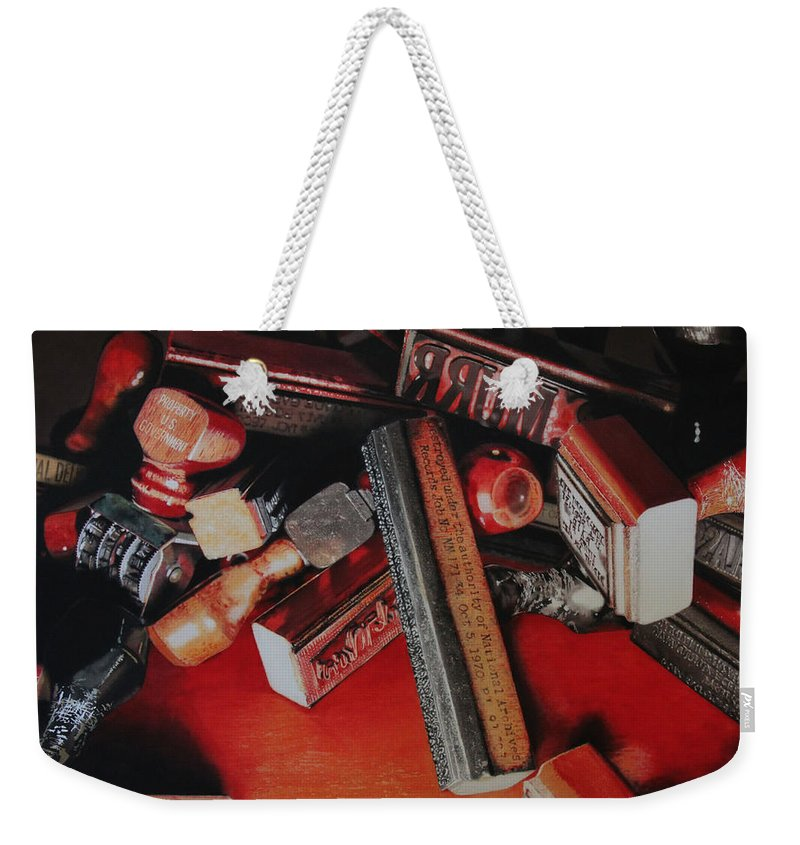 Stampers Weekender Tote Bag featuring the painting Archived by Denny Bond