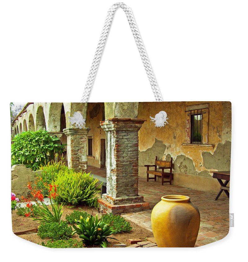 California Missions Weekender Tote Bag featuring the photograph Archways At The Mission, Mission San Juan Capistrano, California by Denise Strahm