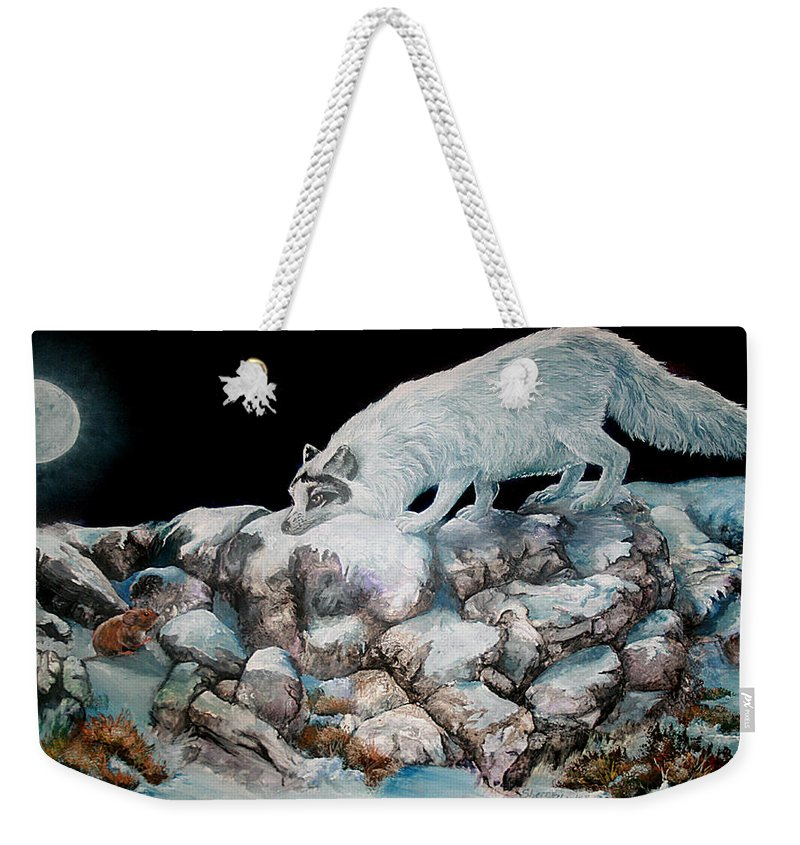 Fox Weekender Tote Bag featuring the painting Arctic Encounter by Sherry Shipley