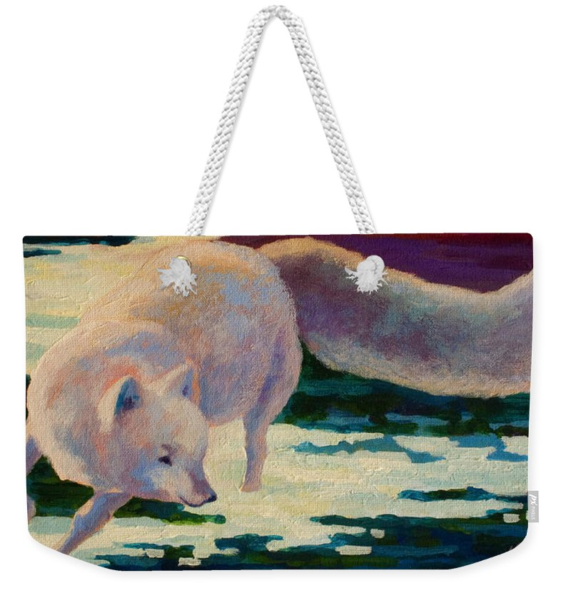 Arctic Weekender Tote Bag featuring the painting Arctic Fox by Marion Rose