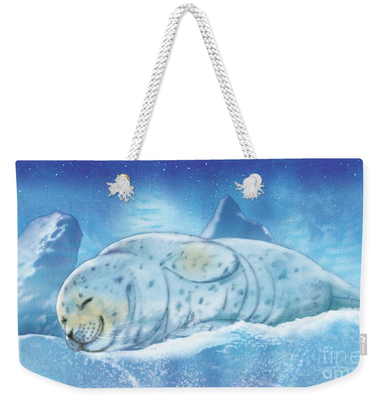 Animals Weekender Tote Bag featuring the painting Arctic Seal by Tracy Herrmann