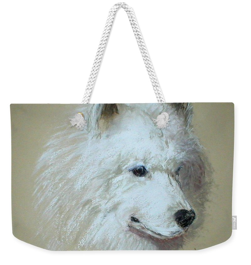 Dog Weekender Tote Bag featuring the drawing Arctic Serenity by Cori Solomon